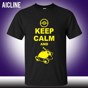 Classic Style Keep Calm And Carry On Snorlax Sleep On Pokemon T Shirt Casual Music Rock N Roll Band T Shirt