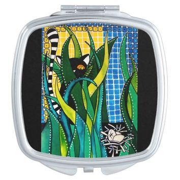 Hunter in Camouflage - Funny Cat Art Mirror For Makeup