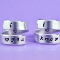[♡023] i love you i know - Hand Stamped Spiral Rings Set, Love Couple Rings