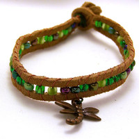 Brown Dragonfly Bracelet Stackable Wrap