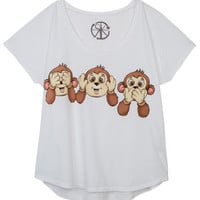 Three Monkeys Tee - White