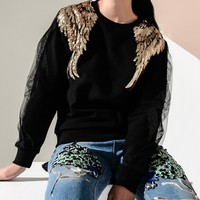Black Wing Sequin Detail Mesh Panel Sweatshirt