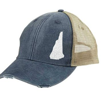 New Hampshire Hat - Distressed Snapback Trucker Hat - off-center state pride hat - Pick your colors