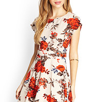 FOREVER 21 Nature-Inspired Skater Dress Taupe/Red