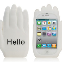 Hello Palm Shaped Silicone Case for iphone 4/ 4S (White)
