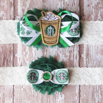 Coffee Lovers Garter Set...Frozen Coffee Drink Wedding Garters...Bridal Garter and Toss Garter