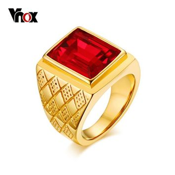 Vnox Red Stone Large Rings for Men Jewelry Gold-color Stainless Steel Rhombus Engagement Rings
