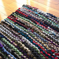Rag Rug Utility Laundry Workshop Upcycled T Shirt Black Green Teal Purple Red Tan Gray Rectangle 24 in by 34 in -US Shipping Included