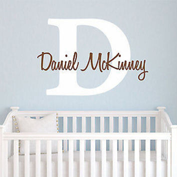 Initial and Name Personalized Vinyl Wall Decal