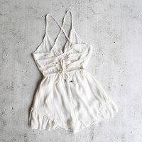 paper heart - roses for you - gauzy open back romper with ruffle hem - more colors