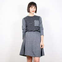 Vintage 80s Dress Black Gray Dress Striped T Shirt Dress Tshirt Dress Skater Dress Skater Skirt Long Sleeve Mini Dress Mod M Medium L Large