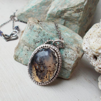 Sterling silver Montana moss agate pendant necklace, oxidized, iolite gemstones, white & spotted black inclusions, 14k gold fill, jewelry