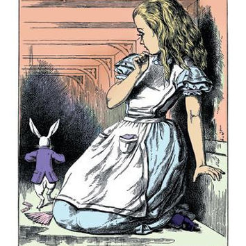 Alice in Wonderland: Alice Watches the White Rabbit 28x42 Giclee on Canvas