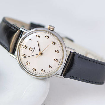 Tomboy watch Omega, classical Swiss watch, unisex watch, minimalist watch wavy face pattern, best brand watch her, new premium leather strap