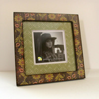 5x5 or 8x8 Photo Frame Green Floral by JunebugsCC on Etsy
