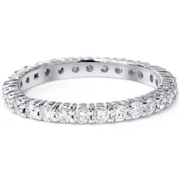 1.00CT SI1 Diamond Eternity Ring Prong 14K White Gold Wedding Anniversary Band