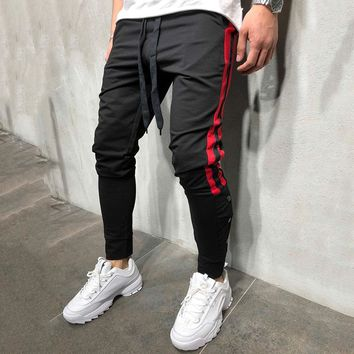 Fashion Hip hop Men Track Pants Fitness Streetwear Trousers Kanye West Striped Drawstring Joggers Sweatpants pantalon homme
