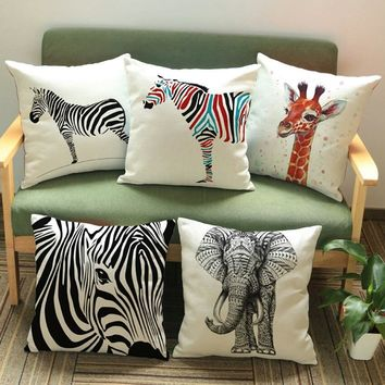 Square Elephant Linen Home Decor Pillows Hand Painting Africa Elephants C
