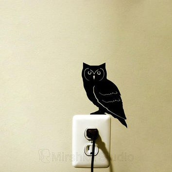 Owl light switch decal night owl decor bird laptop sticker animal home decor