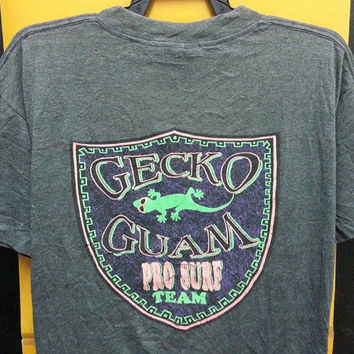 Vintage 80s GECKO GUAM Pro Surf Team hang Ten TShirts