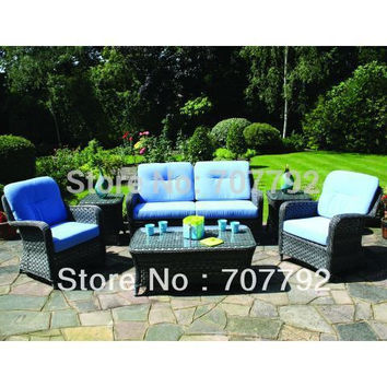 NEWEST!Rattan Sofa Set with Coffee and Side Tables