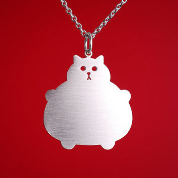 Silver Cat Necklace, Kawaii Jewellery, Fat Kitty Accessory