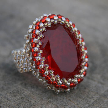 red glass ring, ruby glass ring, beaded ring, SEED BEAD ring, woven ring, boho ring, BEADWORK art, ring for her, victorian handmade