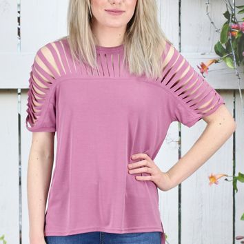Caged Cut Out Modal Short Sleeve Top {Mauve}