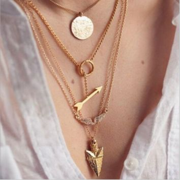 Fashion angel wings arrow fish scales hanging tablets multi-layer exaggerated metal necklace