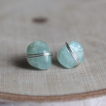 Silver Wire Wrap Aquamarine Crystal Stud Earrings, Healing Crystals and Stones, Bohemian Bridal Hippie Jewelry, Valentines Day Gift for her