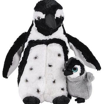 12 and 5 Inch Stuffed Penguin Mom and Baby Plush Floppy Zoo Animal Family Collection