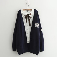 Fashionable harajuku cat sweater cardigan coat