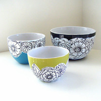 Ceramic Nesting Bowls Set Spring Flowers Green by sewZinski