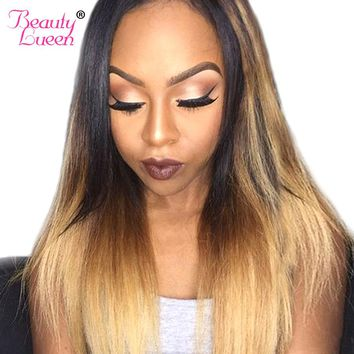 Ombre Brazilian Straight Hair Bundles 3 Tone Ombre Human Hair Extension 10-26'' 1B 4/27 Non Remy Hair Weave Double Weft 1 Piece