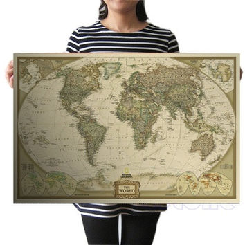 "Vintage Retro Paper World Map Antique Poster Wall Chart Home Decoration 28""x18"" [8081668679]"