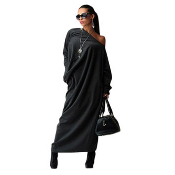 Preself Casual Loose Knit Maxi Off-Shoulder Wrap Dress Vestidos Oversized Long Sleeve Dresses Plus Size Autumn Winter No Bag