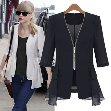 European Street Fashion Slim Female Jacket Chiffon Splice White Blazer Women Coat Zipper Plus Size