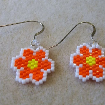Small Orange Flowers with Yellow Centers Seed Bead Earrings Clip On Hooks Dainty