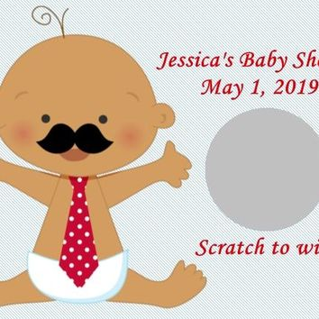 10 Little Man Baby Shower Scratch Off Cards