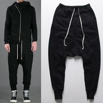 mens joggers Casual urban clothing trousers harem pants men black fashion swag dance drop crotch hip hop sweatpants for men