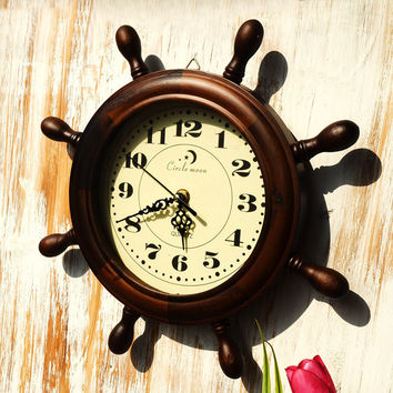 Vintage Wooden Decoration Clock [6282987270]