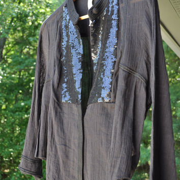 Free People New Romantics Sequin Button Down Shirt