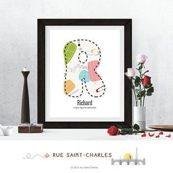 baby nursery art, monogram logo, personalized baby gift, baby initial art print, DIY printable art, home decor, nursery decor, wall art