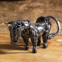 Handmade / Handwelded Animal Sculpture of Bull / Toro made from Recycled Metal, Screws, Bike Chain, etc.