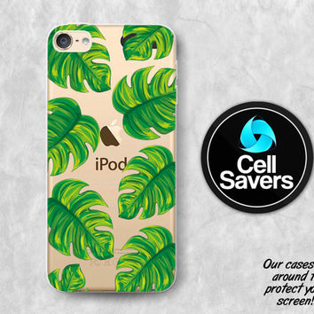 Tropical Leaves Clear iPod 5 Case iPod 6 Case iPod 5th Generation iPod 6th Generation Rubber Case Gen Clear Case Green Leaves Summer Tumblr