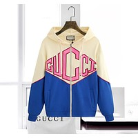 Gucci Fashion Women Men Coat Print Zipper Hoodie Beige&Blue
