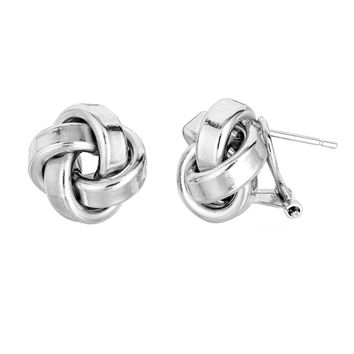 Sterling Silver Rhodium Finish 13mm Shiny Love Knot Omega Back Earrings