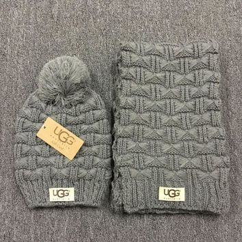 DCCKB62 Gucci' Fashion Casual Trending Women Winter Knit Warmer Hat Cap Scarf Set Dark grey G