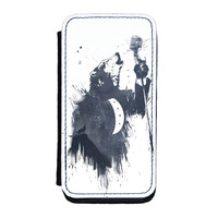 Wolf Song 3 Premium Faux PU Leather Case Flip Case for iPhone 5C by Balazs Solti