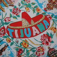 1970s Vintage Tijuana Mexico Scene Scarf, 31 x 29 In. Square, Colorful Silk Feel Fabric, Vintage Scarf, 1970 Fashion Accessory, Souvenir
